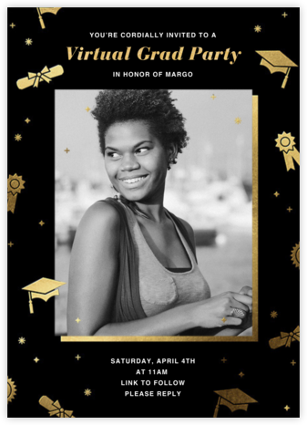 Grad Confetti - Black - Paperless Post - Online Party Invitations