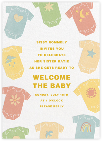 Pastel Onesies - Paperless Post - Baby Shower Invitations
