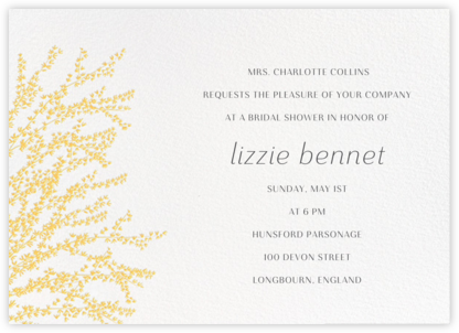 Forsythia (Horizontal) - Yellow - Paperless Post - Bridal shower invitations