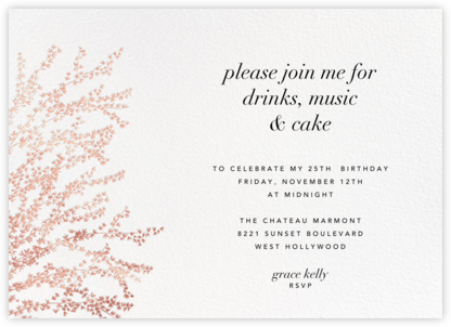 Forsythia (Horizontal) - Rose Gold - Paperless Post - Adult Birthday Invitations