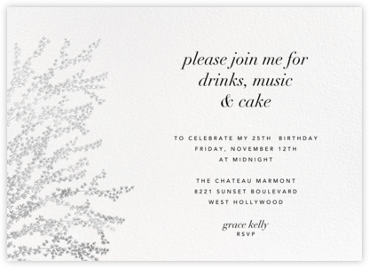 Forsythia (Horizontal) - Silver - Paperless Post - Adult Birthday Invitations