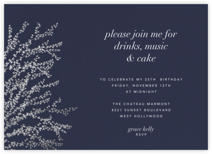 Forsythia (Horizontal) -  Navy/Silver - Paperless Post - Adult Birthday Invitations