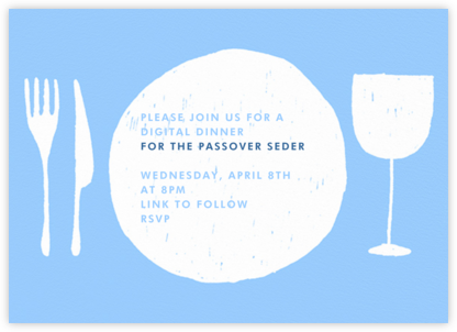 Place Setting - Light Blue and White - Paperless Post - Virtual Parties