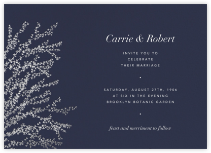 Forsythia (Horizontal) -  Navy/Silver - Paperless Post - Wedding Invitations