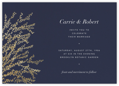 Forsythia (Horizontal) -  Navy/Gold - Paperless Post - Wedding Invitations