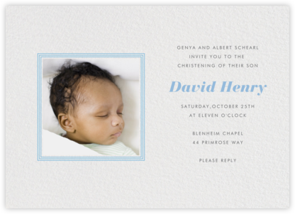 Square Frame (Horizontal) - Blue - Paperless Post - Baptism invitations