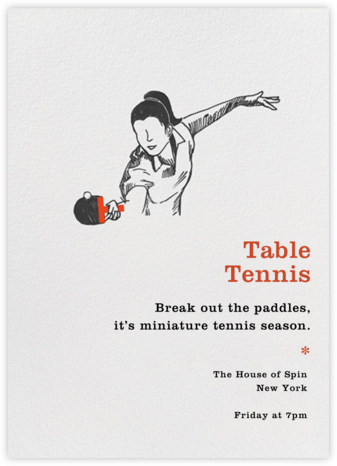 Table Tennis - Spin - Paperless Post -