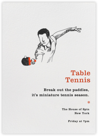 Table Tennis - Backspin - Paperless Post - Sporting Event Invitations