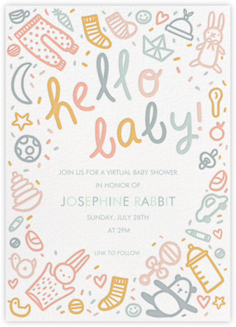 Baby Doodle - Hello!Lucky - Online Baby Shower Invitations
