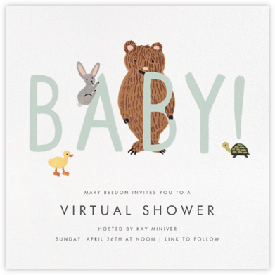 Bunny, Bear, and Baby - Mint - Rifle Paper Co. - Online Party Invitations