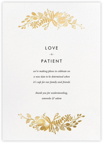 Floral Silhouette - White/Gold - Rifle Paper Co. - Wedding Postponement Cards