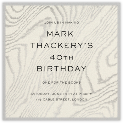 Chic Minimalism - Schumacher - Adult Birthday Invitations