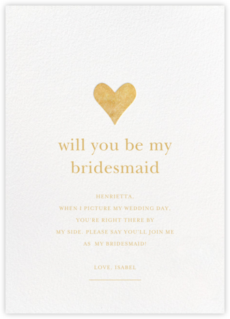 Luminous Heart - White/Gold - Sugar Paper - Will You Be My Bridesmaid Cards