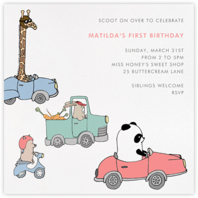Automotive Animals - Paperless Post - First Birthday Invitations