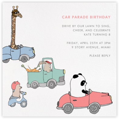 Automotive Animals - Paperless Post - Kids' Birthday Invitations