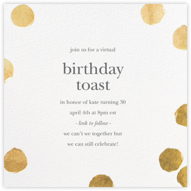 Reese - Gold - Sugar Paper - Adult birthday invitations