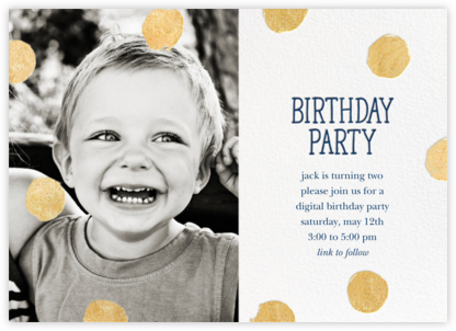 Big Dot Birthday (Photo) - Dark Blue - Sugar Paper - Online Kids' Birthday Invitations