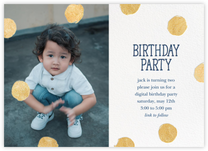 Big Dot Birthday (Photo) - Dark Blue - Sugar Paper - Online Party Invitations