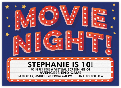 Movie Night - Hello!Lucky - Online Kids' Birthday Invitations