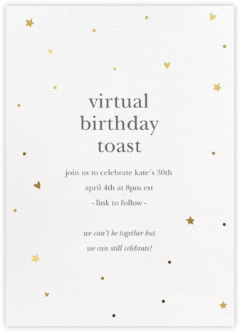 Hearts and Stars - Gold - Sugar Paper - Adult Birthday Invitations