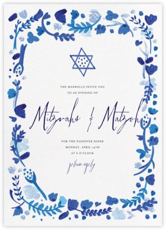 Hydrangeas and a Mitzvah - Blue - Mr. Boddington's Studio - Passover invitations