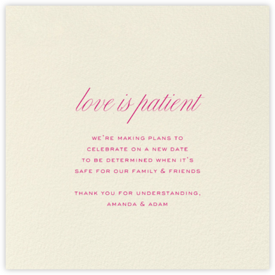 Cream (Square) - Paperless Post - Wedding Postponement Cards