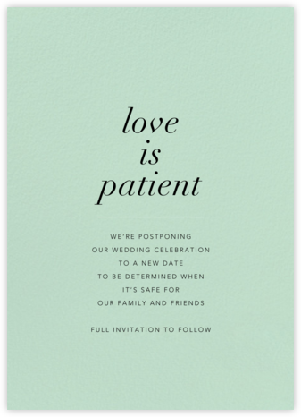 Mint - Paperless Post - Wedding Postponement Cards
