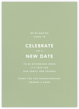 Sage (Tall) - Paperless Post - Wedding Postponement Cards