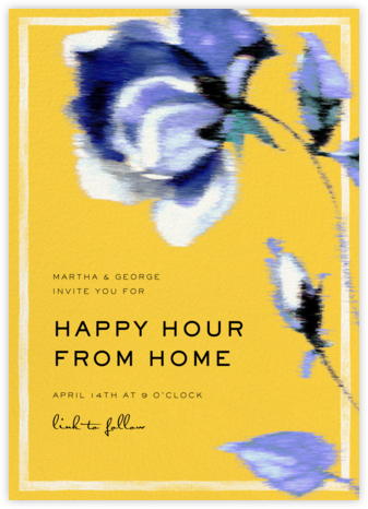Abstracted Bloom - Yellow - Carolina Herrera - Happy Hour Invitations