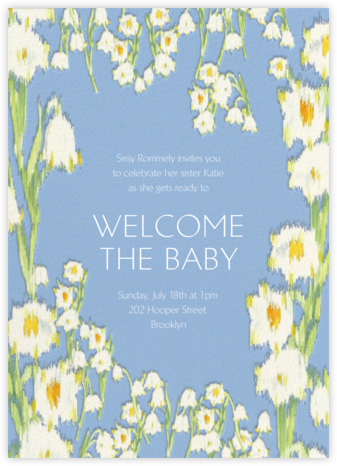 Garden Lilies - Blue - Carolina Herrera - Baby Shower Invitations