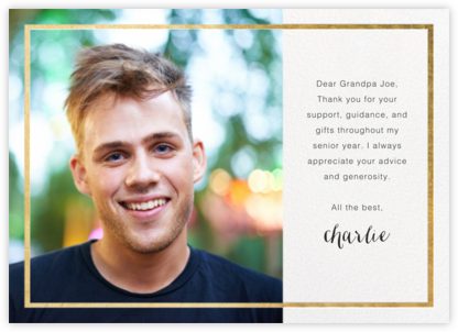 Idylle (Photo) - White/Gold - Paperless Post - Graduation Thank You Cards