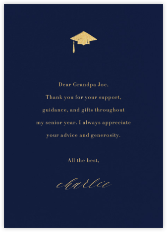 Navy (Tall) - Paperless Post - Graduation Thank You Cards