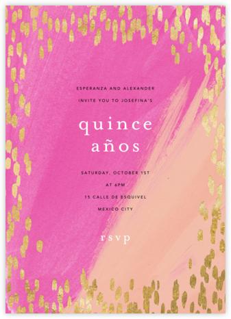 Dappled - Pink/Gold - Ashley G - Quinceañera Invitations