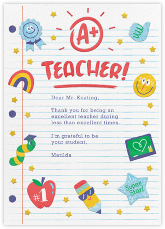 A+ Teacher - Paperless Post - Online Thank You Cards