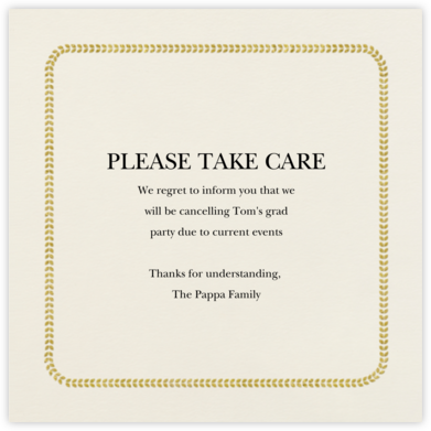 Leaf Inner Bevel Border - Cream Gold (Small Square) - Paperless Post - Online Party Invitations