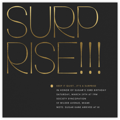Bold Surprise - Gold - Paperless Post - Adult Birthday Invitations