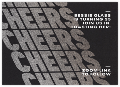 Cheers on Cheers - Silver - Paperless Post - Adult Birthday Invitations