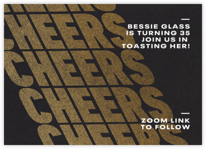 Cheers on Cheers - Gold - Paperless Post - Adult Birthday Invitations