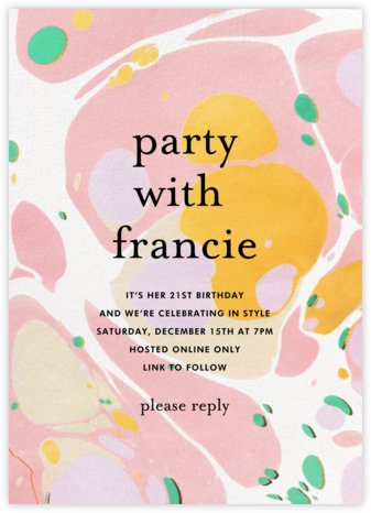 Marble Paint - Ashley G - Birthday invitations