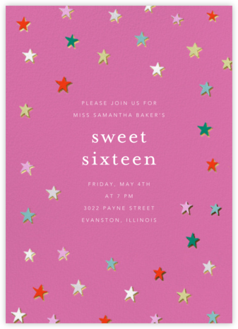 Falling Stars - Heath - Ashley G - Sweet 16 invitations