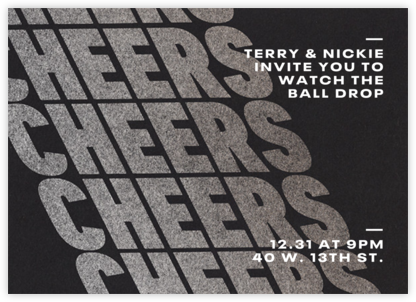 Cheers on Cheers - Silver - Paperless Post - New Year's Eve Invitations