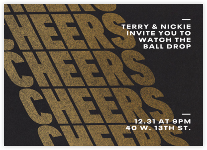 Cheers on Cheers - Gold - Paperless Post - New Year's Eve Invitations