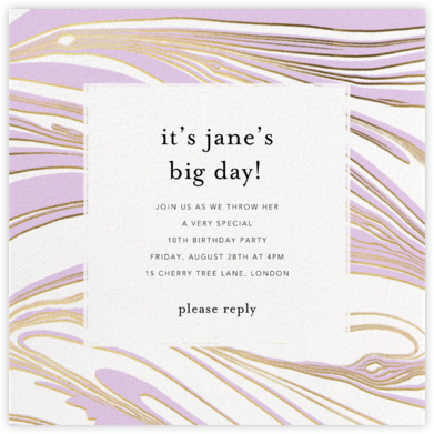 Marbleous - Wisteria - Ashley G - Birthday invitations