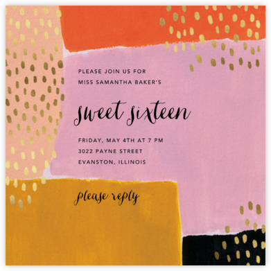 Dappled Blocks - Ashley G - Sweet 16 invitations