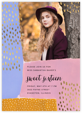 Dappled Blocks Photo - Ashley G - Sweet 16 invitations
