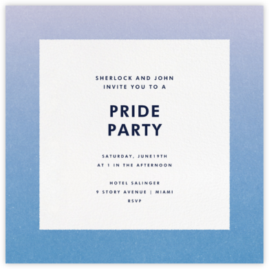 Gradient Border - Blue - Paperless Post - Pride Party Invitations