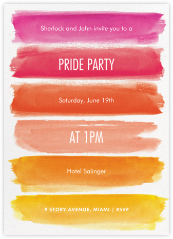 Rainbow Brushstrokes - Pink - Paper Source - Pride Party Invitations