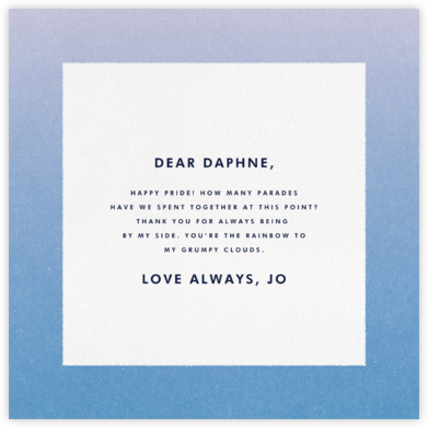 Gradient Border - Blue - Paperless Post - Pride Greeting Cards