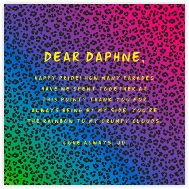 Neon Cheetah - Paperless Post - Pride Greeting Cards