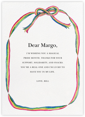 Rainbow Ribbon - Happy Menocal - Pride Greeting Cards